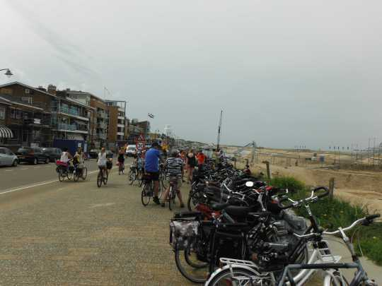 Bikes parked by the beach in Katwijk.