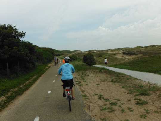 Bike trail through the dunes between Katwijk and Noordwijk, with a separate walking trail (unpaved) off to the side.